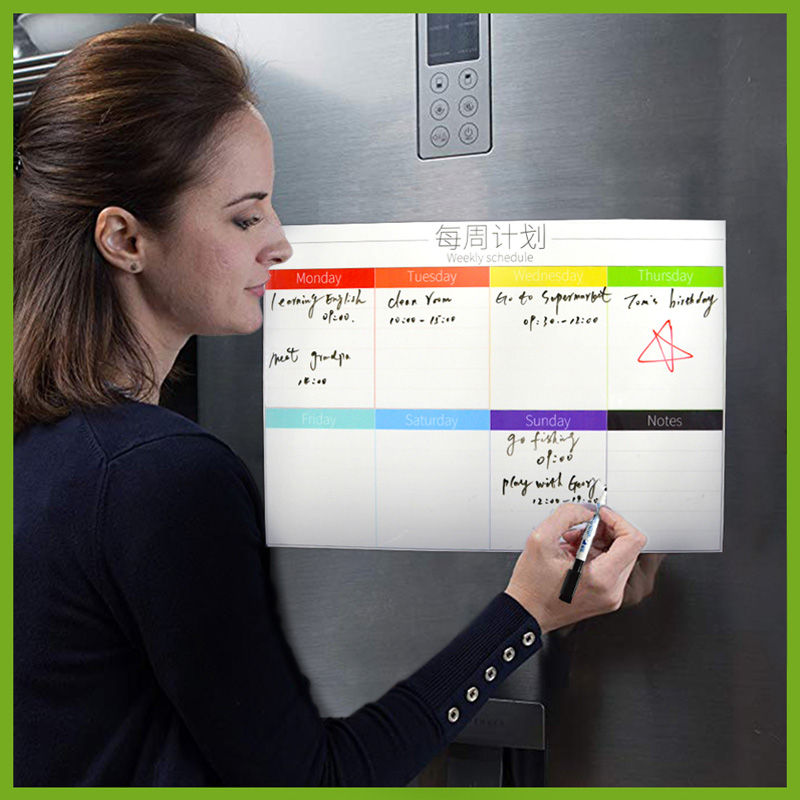 Magnetic Board Calendar Whiteboard Weekly Daily Planner Schedule Magnets Fridge Refrigerator To-Do List Organizer For Kitchen
