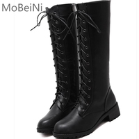 MoBeiNi Autumn Winter Women Motorcycle Boots Round Toe Chunky Heel Riding Boots Shoes Female Lace Up