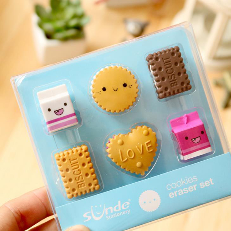 6 Pcs/pack Kawaii Kids Square Round Biscuit Milk Rubber Pencil Erasers Correction Eraser For Kids Gifts Korean Stationery