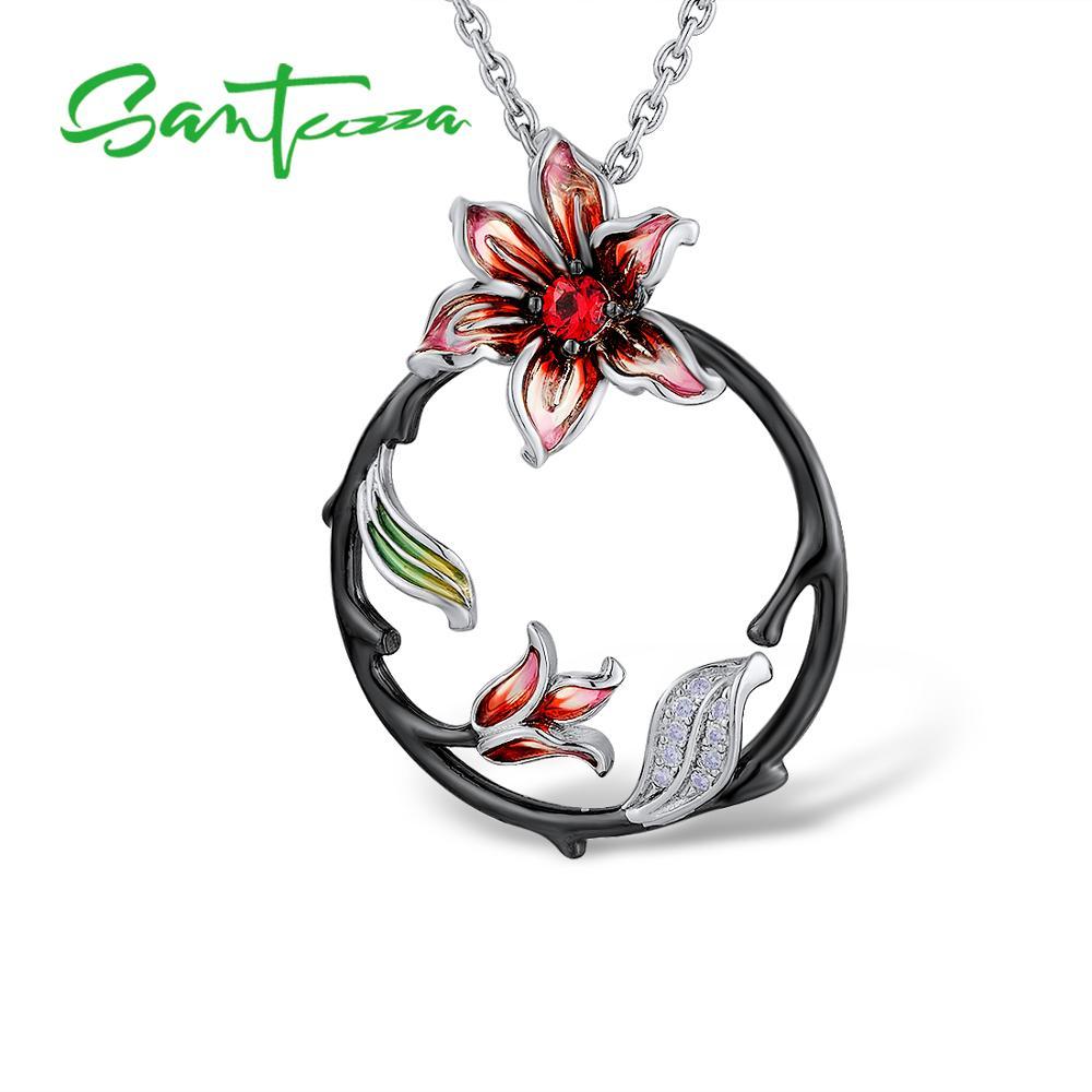 SANTUZZA conjunto de joyas de plata para las mujeres rama pendientes flor colgante de plata de ley 925 joyería de moda de esmalte - 2