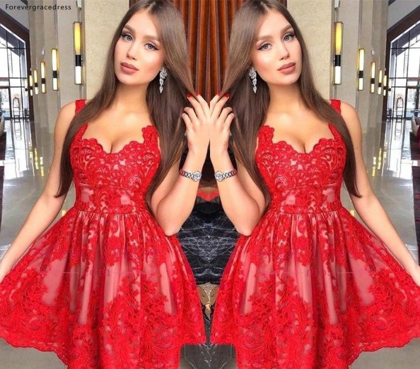 Spaghetti Straps Red Lace   Cocktail     Dresses   2019 A Line Girls Club Wear Graduation Homecoming Party Gowns Plus Size Custom Made