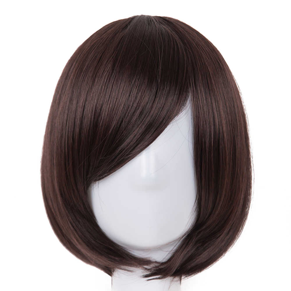 Short Wavy Wig Fei-Show Synthetic Heat Resistant Fiber Dark Brown Student Bob Women Hair Cosplay Halloween Carnival Hairpiece