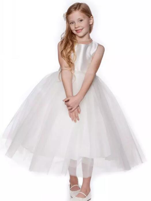 New White Puffy Tulle Girls Dress for Wedding Mid Calf Length with Pearls Sash Communion Dress Any Size ombre circle calf length socks