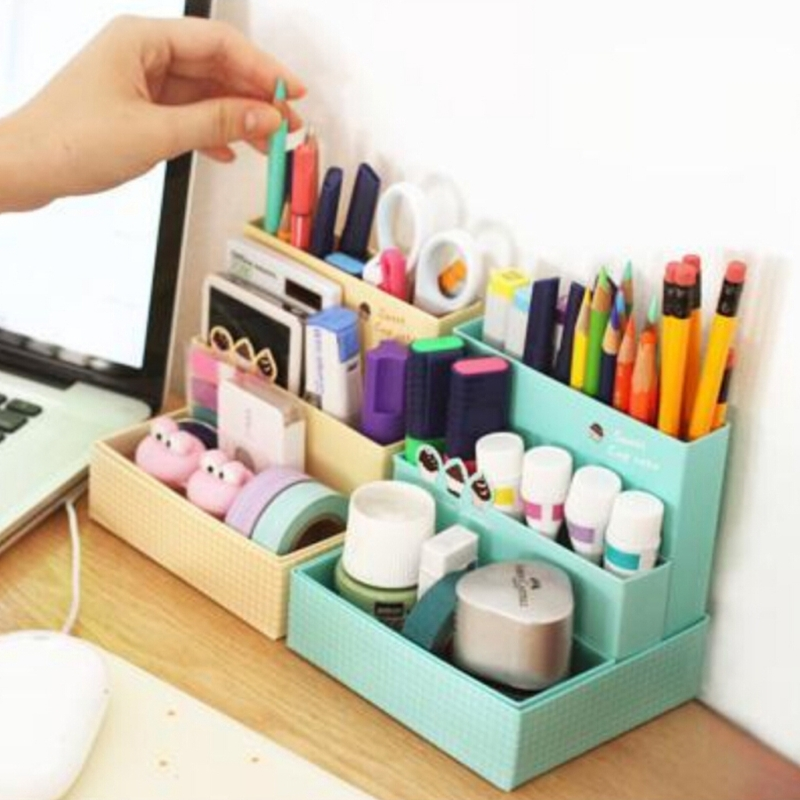 Paper Board Organise Box Desk Decor Stationery Makeup Cosmetic Case Organizer DIY W15