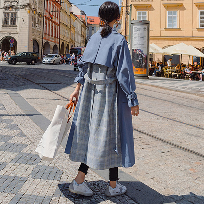 Spring Autumn Long   Trench   Coat Women Full Sleeve Casual Splice Plaid Loose Outerwear Lady 2019 Korean Fashion Belt Windbreaker