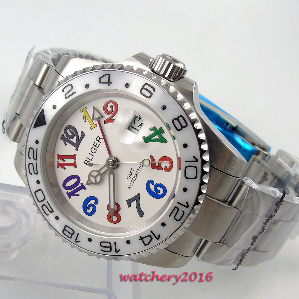 2018 Top Brand 40mm Bliger White dial ceramic bezel Sapphire Crystal Luminous Hands GMT date Automatic Mechanical Men's Watch 40mm bliger white dial white ceramic bezel gmt luminous hands sapphire glass automatic movement men s mechanical watches