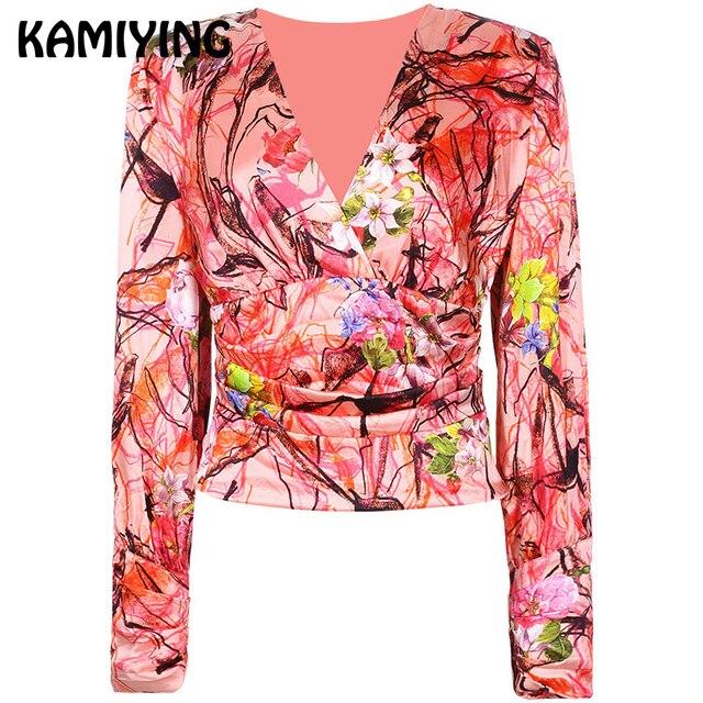 KAMIYING V-Neck Blouse Sexy Slim Office Lady Street Shirt Autumn Overalls Flower Print Professional Shirt Formal Shirt PKHC510