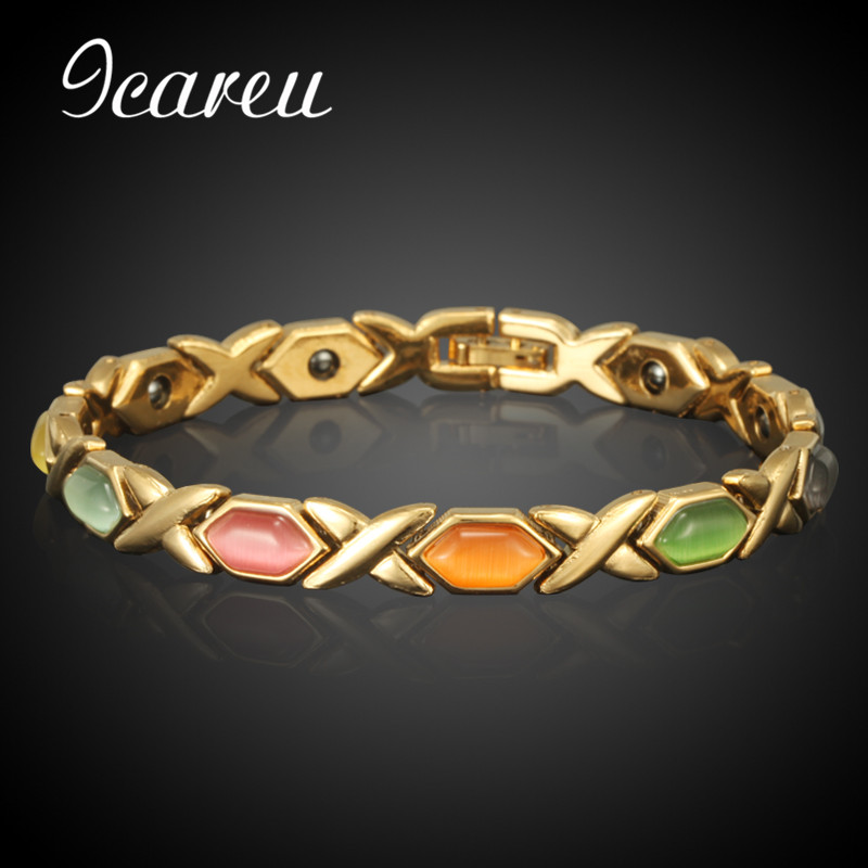 Wholesale Copper Magnetic Women Bracelets Gold Color Pure Copper Arthritis Healing Jewelry Brand Bracelets Homme pure copper magnetic suspension coil with 3mm screw hole