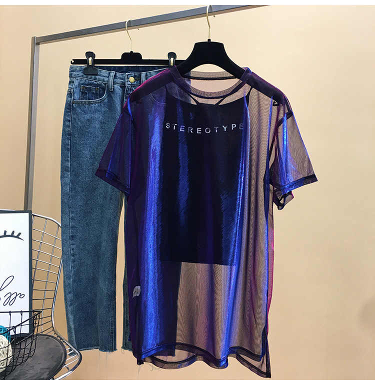 Red roja con malla púrpura de manga corta Camiseta femenina verano 2019 nueva strange taste girl hip-hop ropa MA5