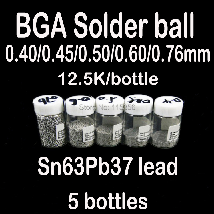 free shipping 5 bottles / set 0.4 0.45 0.5 0.6 0.76mm BGA Lead Solder balls 12500pcs/bottle bga reballing kit