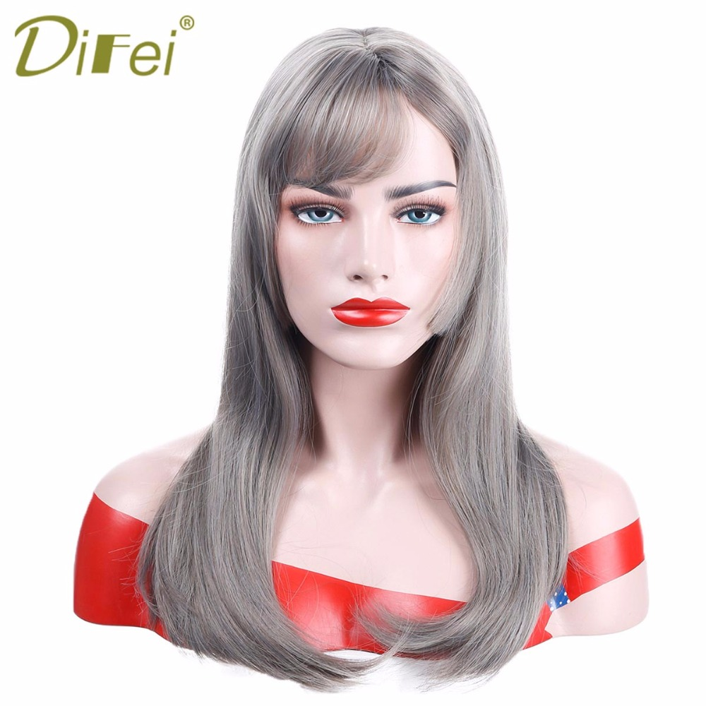 DIFEI Women Long Straight Heat Resistant Synthetic Grey Hair Wigs Swept Bangs Bob Wig for Daily Use Cosplay