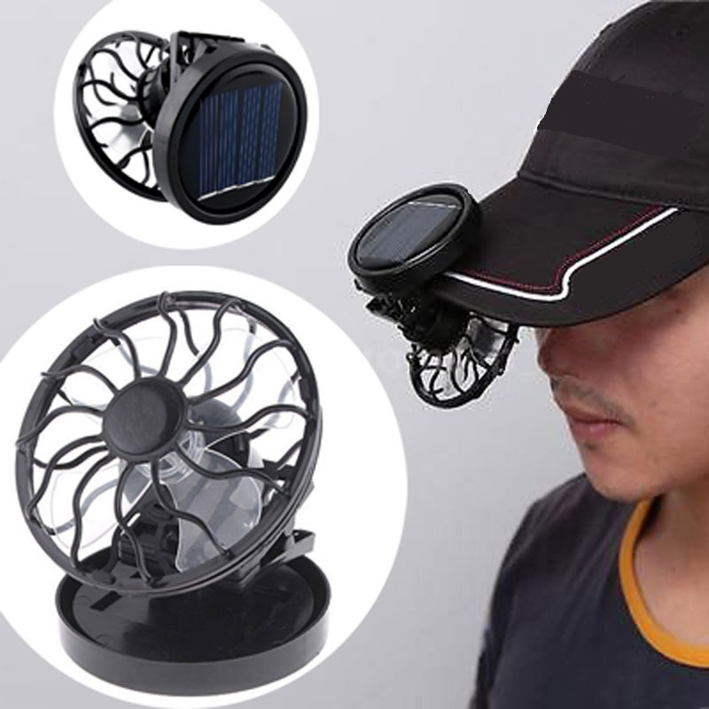 fan portable. black solar power cell mini portable fan clip-on sun powered cooler fishing travelling drop e
