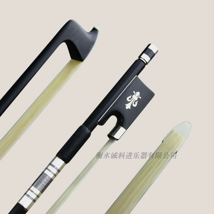 1Pc Strong Black Carbon Fiber Violin Bow 1/4 1/2 3/4 4/4 Good Balance Natural White Horsehair Ebony Frog Nickel Silver Parts 1 pc quality viola bow black carbon