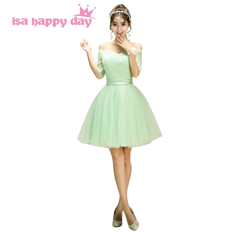 pretty mint green colored simple elegant bateau neck short women's   bridesmaid     dresses   with sleeve for wedding guests B3107