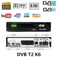 Ontvangen terrestrial signaal dvb tv box DVB T/DVB T2 H.265 FTA ondersteuning dobly AC3 youtube HD ontvanger met scart dvb t2 k6 tv tuner