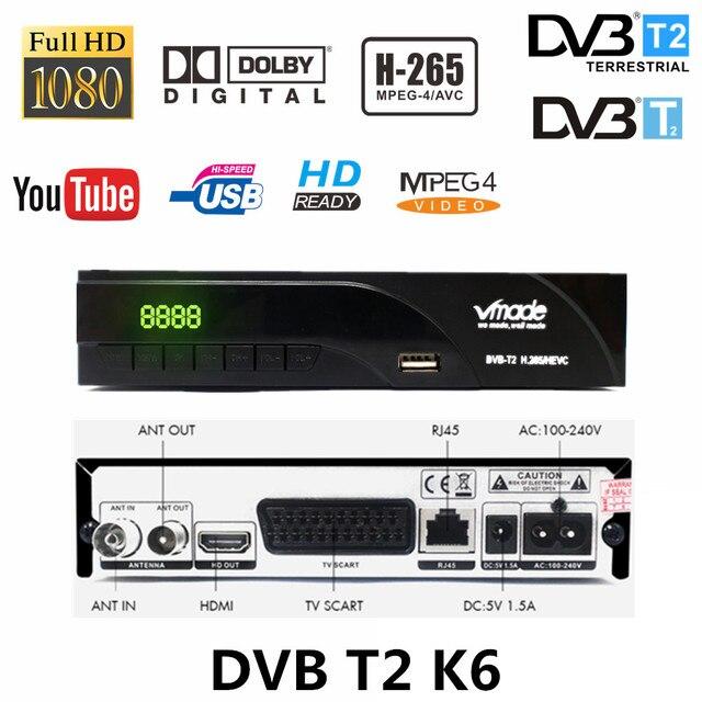 receive terrestrial signal dvb tv box DVB T/DVB T2 H.265 FTA support dobly AC3 youtube HD receiver with scart dvb t2 k6 tv tuner