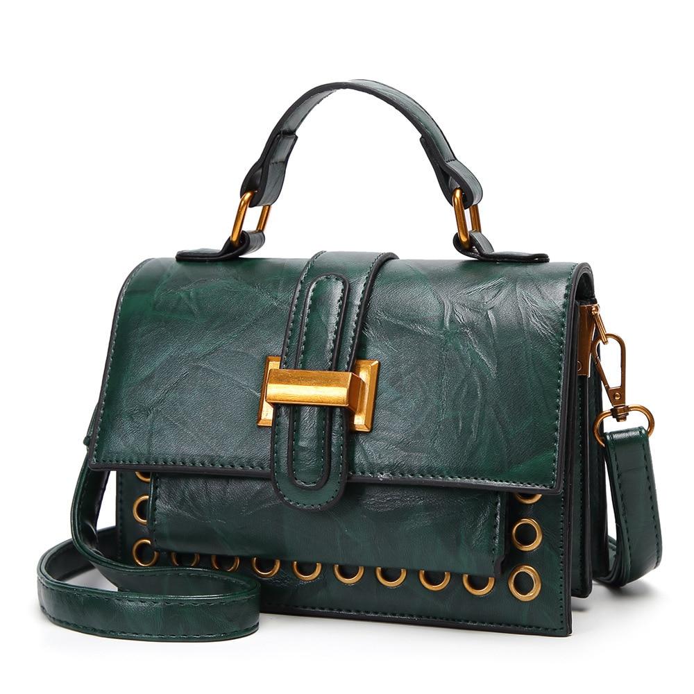 2018 Casual Women Messenger Bags PU Leather Handbags Lady Fashion Lock Design Handbag Shoulder Crossbody Rivet Green Bag Party