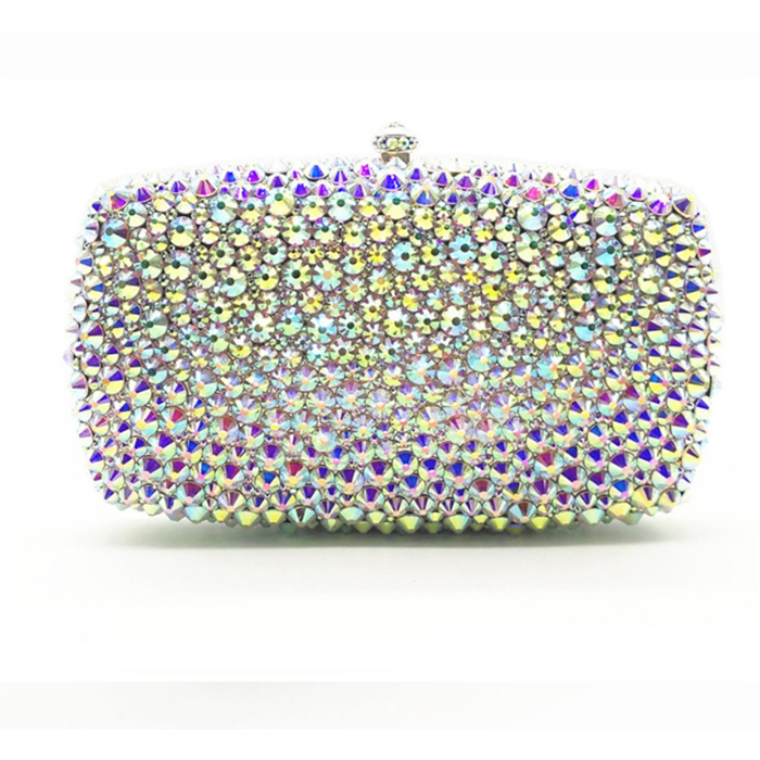 Ladies silver Crystal Evening Clutch Bag banquet Rhinestones Bridal Wedding day Clutches Purse Women Party Mini Dinner Handbags new 2017 silver red gold blue white crystal beaded clutch bag wedding bridal day clutches party dinner purse chains handbags