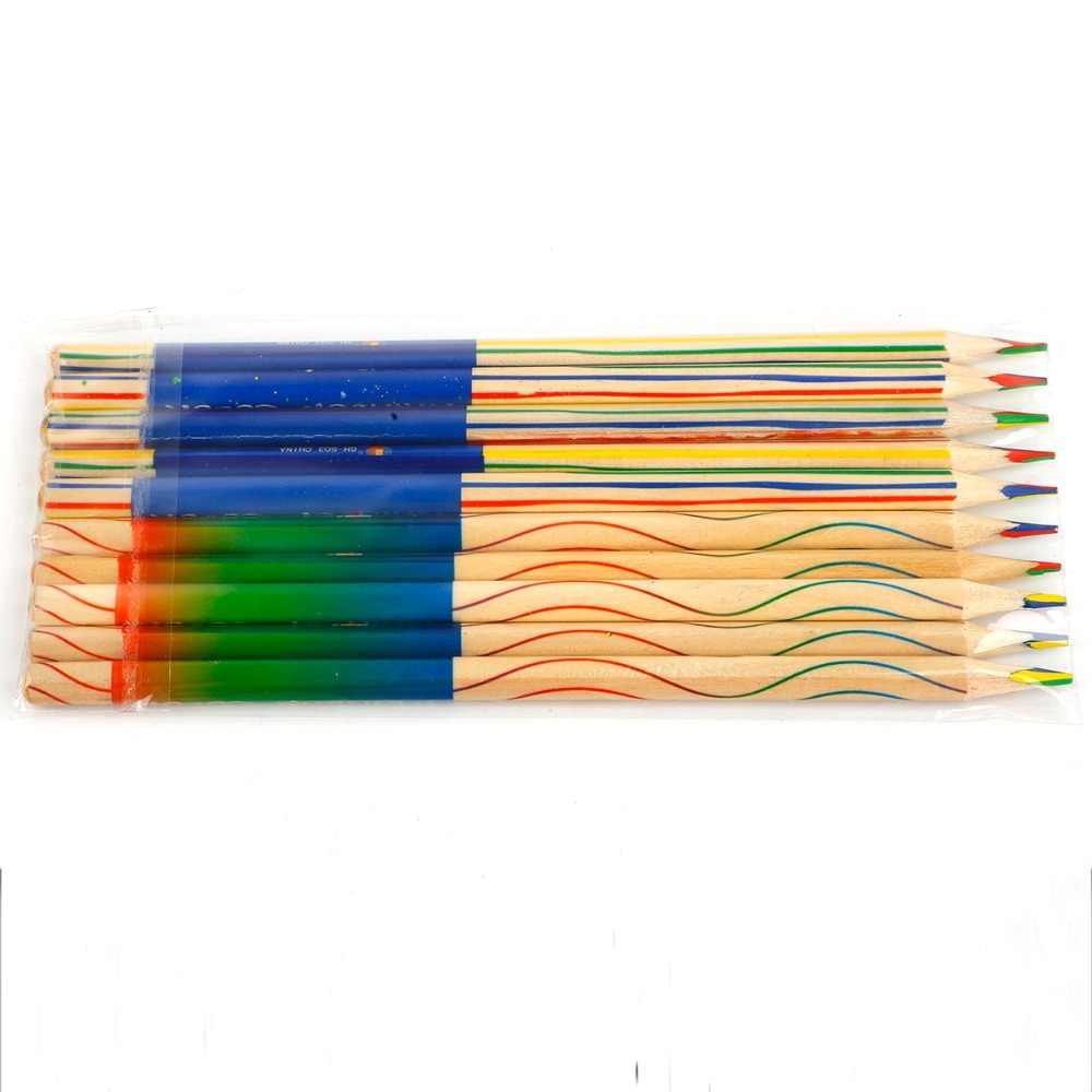 10pcs DIY חמוד Kawaii עץ צבעוני עיפרון עץ קשת צבע עיפרון בית ספר Kid גרפיטי ציור ציור