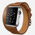 Заказ Удлиненные Натуральная Кожа Для Apple Watch Band Двухместный Тур Браслет Кожаный Ремешок Для Часов iWatch Группы 38 мм 42 мм