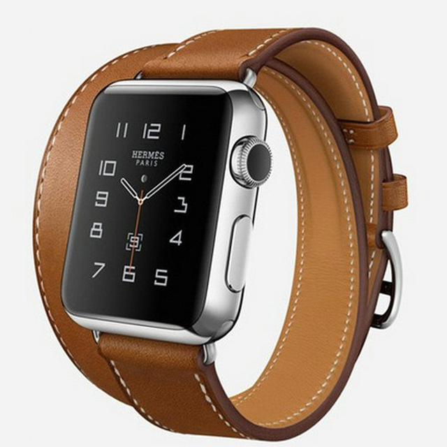 Por encargo extra larga de cuero genuino para apple watch band doble gira pulsera correa de cuero para iwatch venda de 38mm 42mm