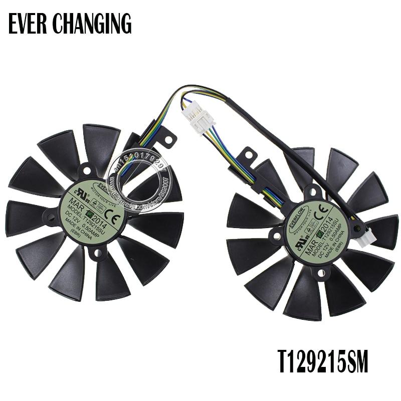 2 unids/lote ordenador tarjeta de vídeo VGA refrigerador ventilador de refrigeración para Asus Strix gtx960 gtx950 GTX750ti t129215su Tarjetas gráficas Ventiladores