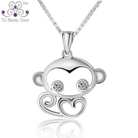 925 Sterling Silver Children Jewelry Cute White Cubic Zirconia Monkey Necklaces Pendants For Girls Anti Allergic