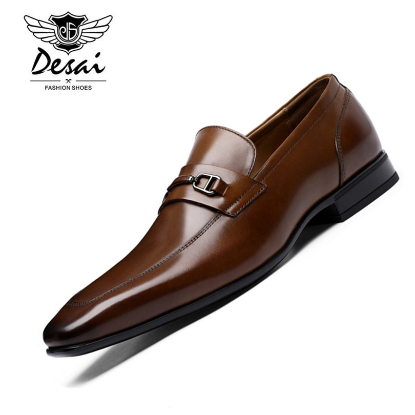 DESAI Brand Top Quality Men Pointed Toe Shoes Genuine Leather Luxury Men Dress Shoes Slip On