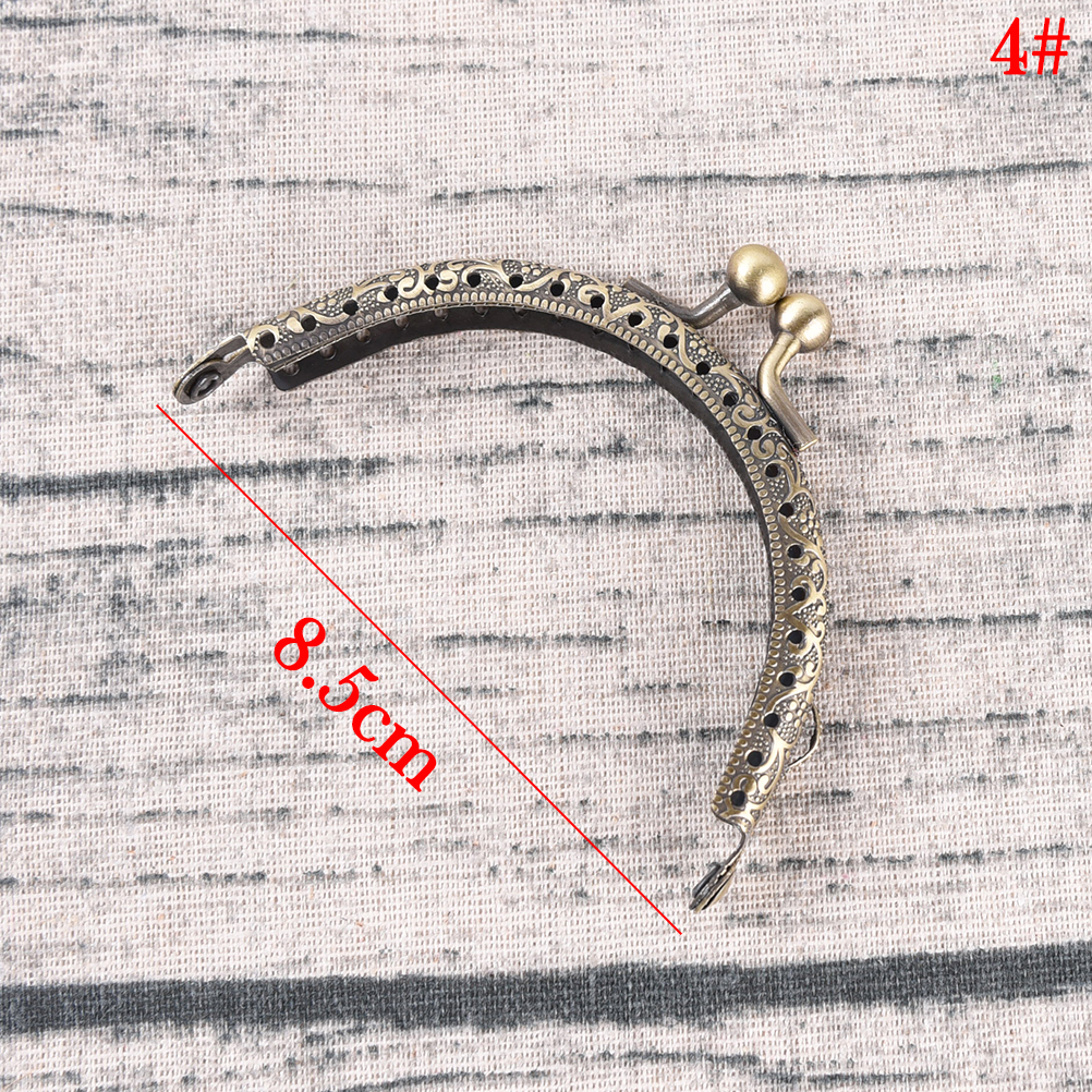 Купить с кэшбэком 1pc 7Sizes delicate DIY Antique Brass Metal Purse Frame ring kiss clasp Handle for Bag Craft bag making Wallet Clip