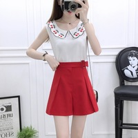Korean fashion women summer suit cherry embroidery chiffon blouse & wide legged short pants two piece outfit girl vestidos S M L