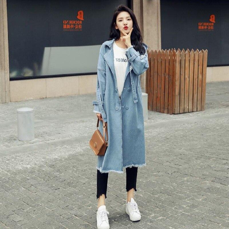 Light Automne Nouvelle Tranchée De Manteau 2018 Femmes Mode Qualité Haute Cowboy Lâche Outwear Denim Blue Longue Élégant Femelle vent Coupe UfwxAqX