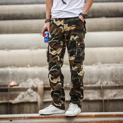 Men's Tactical Pants Male Casual Trouser Multi Pocket Military Style Army Camouflage