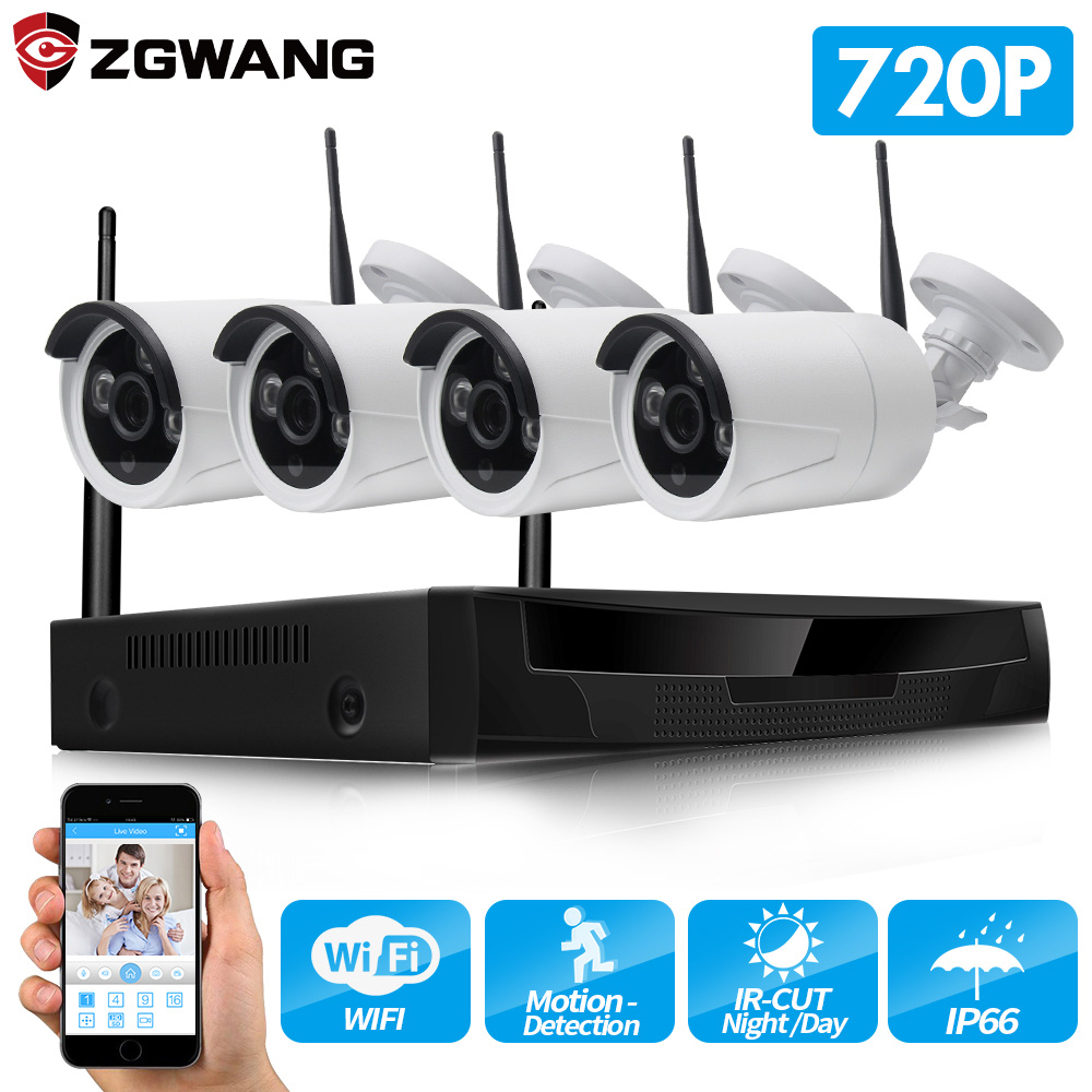 ZGWANG 4CH Wireless NVR CCTV System 720P 1.0MP Outdoor Security IP Camera IR P2P Wifi Video Surveillance Kit Remote View 1TBZGWANG 4CH Wireless NVR CCTV System 720P 1.0MP Outdoor Security IP Camera IR P2P Wifi Video Surveillance Kit Remote View 1TB