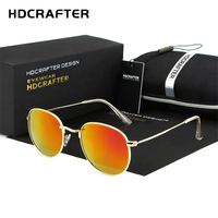 HDCRAFTER Mirror Lens Round Retro Vintage Sun Glasses For Women Driving Sunglasses Women Brand Designer Metal