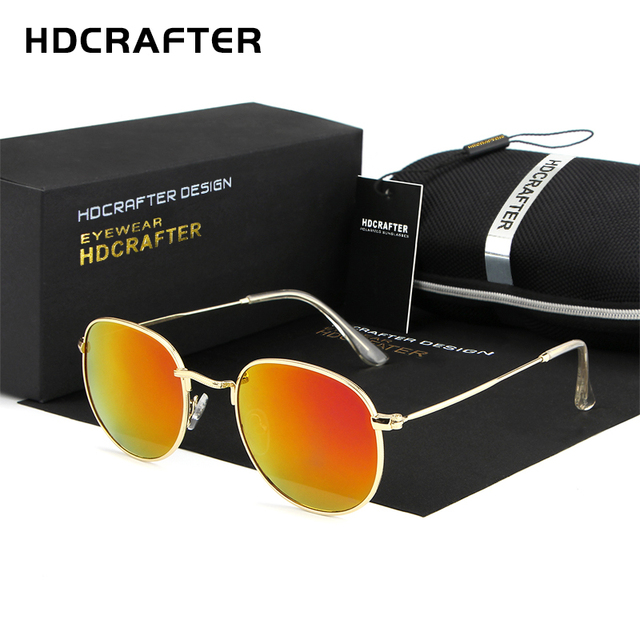 00149f0b0f HDCRAFTER Mirror Lens Round Retro Vintage Sun Glasses for Women Driving  Sunglasses Women Brand Designer Metal