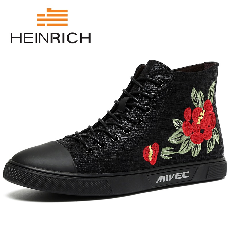 HEINRICH New Arrive Men Causal Shoes Autumn Spring/Autumn Front Lace-Up Leather Shoes Man Casual High Top Men Canvas Shoes mulinsen new arrive 2017 autumn winter men