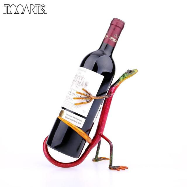 Tooarts Gecko Wine Rack Wine Holder Practical Metal Sculpture Figurines Home Decoration Wine Stand Interior Decoration Crafts