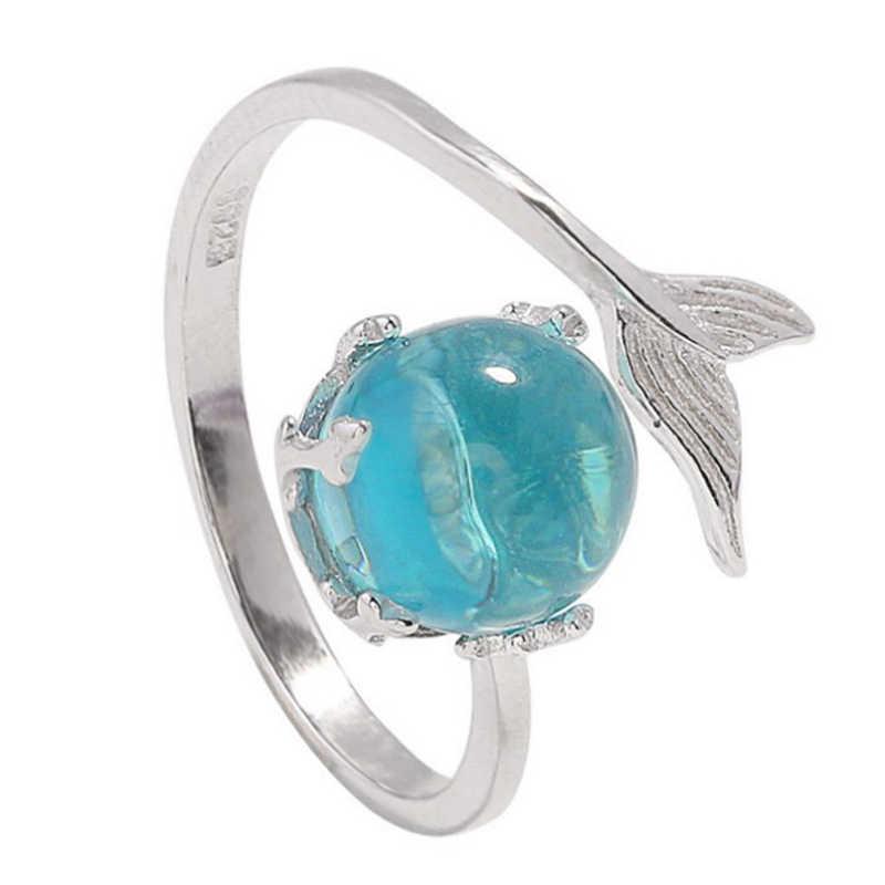 חוף ים 1PC 2019 חדש הגעה מתכוונן מתנות בת ים בועת פתוח טבעת כסף כחול קריסטל אלרגיה משלוח באיכות גבוהה חתונה