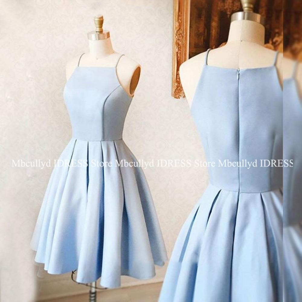 Elegant Light Blue Satin   Bridesmaid     Dresses   2019 Sexy Short Knee Length African Black Girls Wedding Party   Dress   Cheap Under 100
