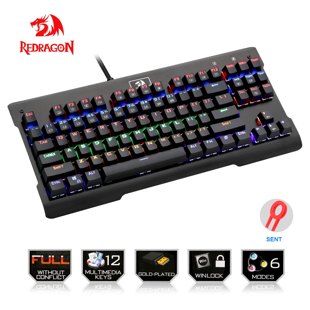 цена на Redragon USB Rainbow mechanical gaming keyboard ergonomic LED backlit keys Full key anti-ghosting 87 keys wired Computer PC Game