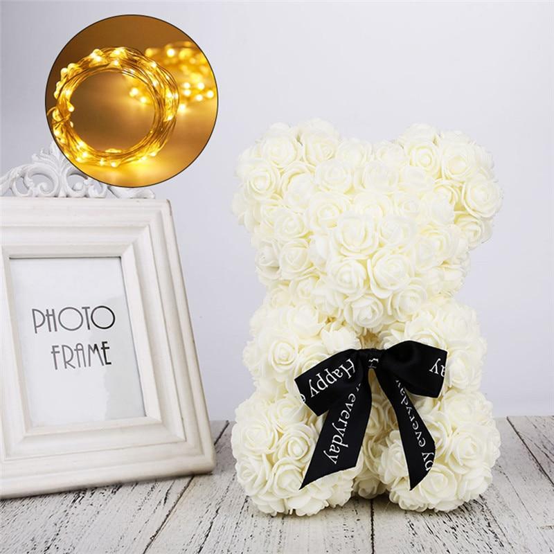 Искусственные цветы розы Медведь собака кролик Мопс юбилей день Святого Валентина подарок на день рождения мать подарок Свадебная вечеринка украшение - Цвет: 23CM Beige Bear