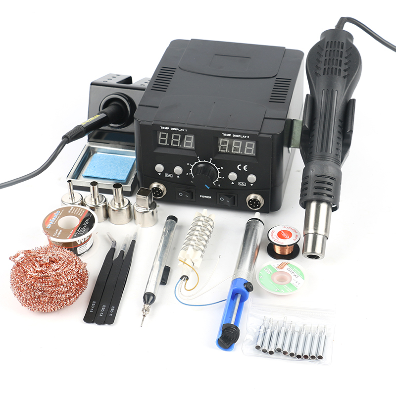 2 in 1 Regulatable Soldering Station Hot Air Gun Solder Iron Digital Adjust Rework Station Welding Set For Phone PCB Desoldering
