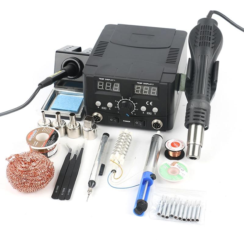 2 In 1 Regulatable Soldering Station Hot Air Gun Solder Iron Digital Adjust Rework Station Welding Set For Phone PCB Desoldering