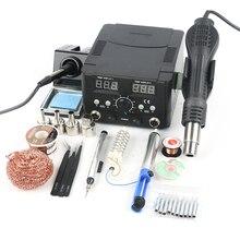 Station de soudage 2 en 1 réglable, pistolet à Air chaud, fer à souder, réglage numérique, machine de réparation, ensemble de soudage pour téléphone, dessouder les PCB