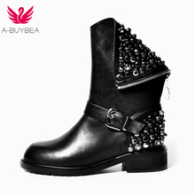 A-BUYBEA new genuine leather women boots fashion rivets square heels autumn winter ankle sexy fur snow Hip-hop black