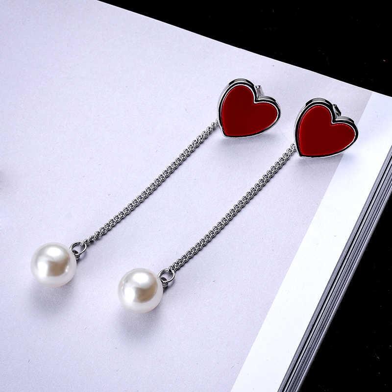 SUKI kobiety metalowa kula łańcuszek naszyjnik akcesoria emalia czarna miłość serce sztuczna perła urok stadniny kolczyki formularz zroszony