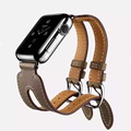 Double Metal Buckle Genuine Leather Band Strap Cuff Bracelet for Apple Watch iwatch 38/42mm Black Blue Red Coffee Brown I169.