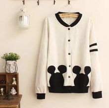 2016 autumn Japanese new style casual white or navy color long sleeve single-breasted cotton lovely women hoodies free shipping