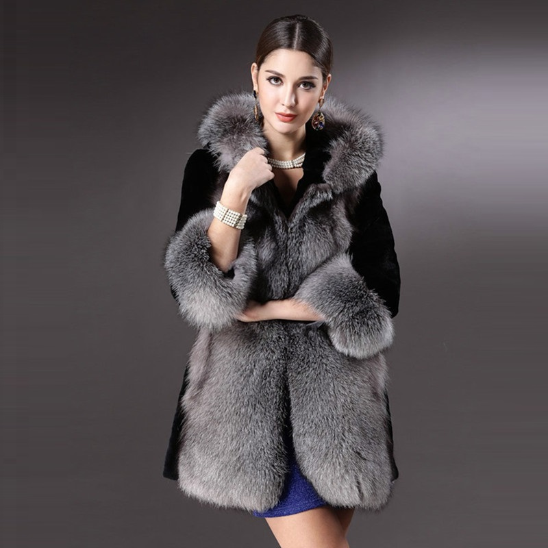 Europe & America Faux Fur New Fashion 2019 Autumn Winters Female Three quarter Women's coats Hooded Overcoat