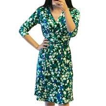 Femmes V-cou Libres Manches Genou Longueur Imprimer Vert Wrap Robes D'été Dames Robe Crayon robe femme ete 2017